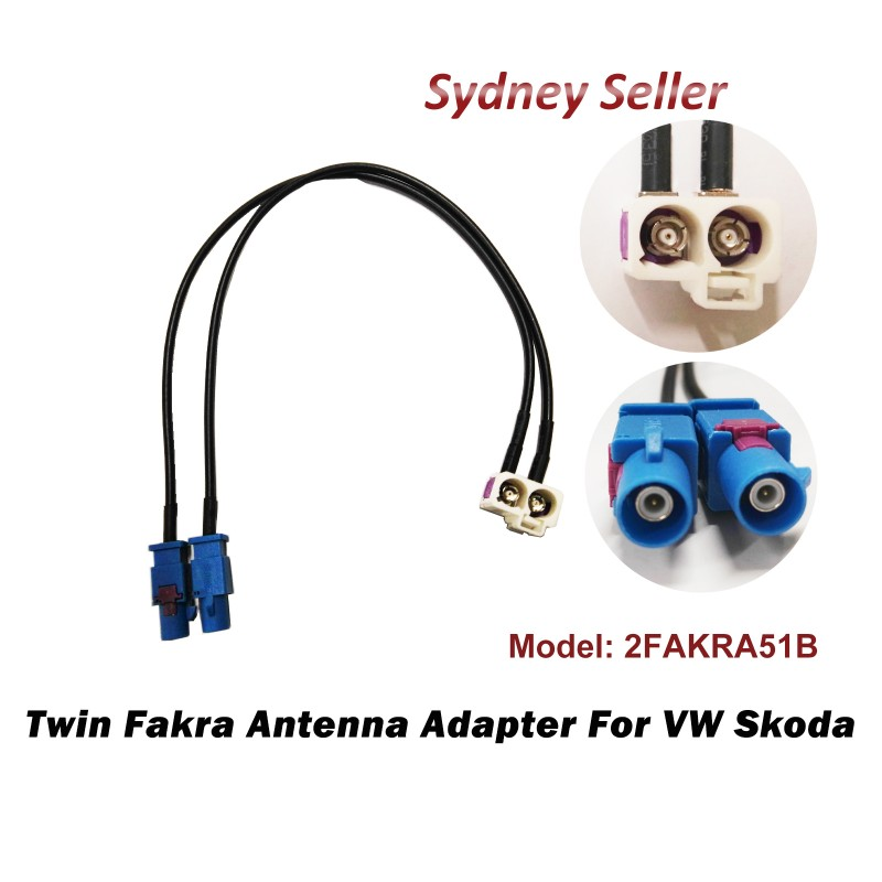 Twin Double Fakra Conversion Cable Radio Antenna Adapter For VW RNS 510 310 315 2FAKRA51B