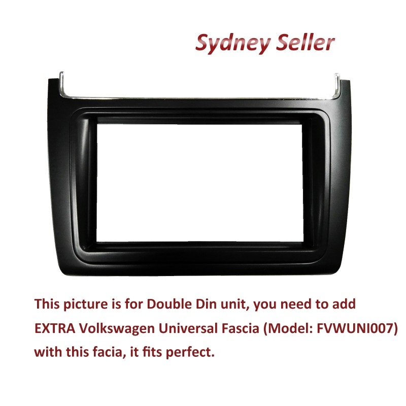 Double DIN Facia Kit Fascia Panel Plate Dash For Volkswagen VW Polo 2014+ FVWPO14ON025