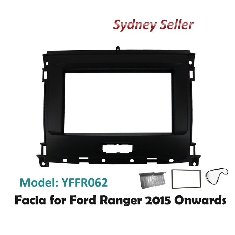 Double 2 DIN Facia Kit Panel Fascia Dash Plate Panel For Ford Ranger 2015+ YFFR062