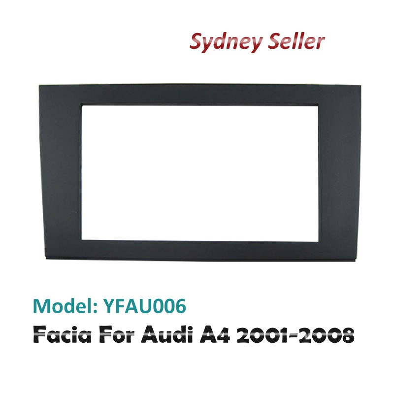 Double 2 DIN Facia Kit Panel Fascia Dash Plate For Audi A4 2001-2008 Black YFAU006