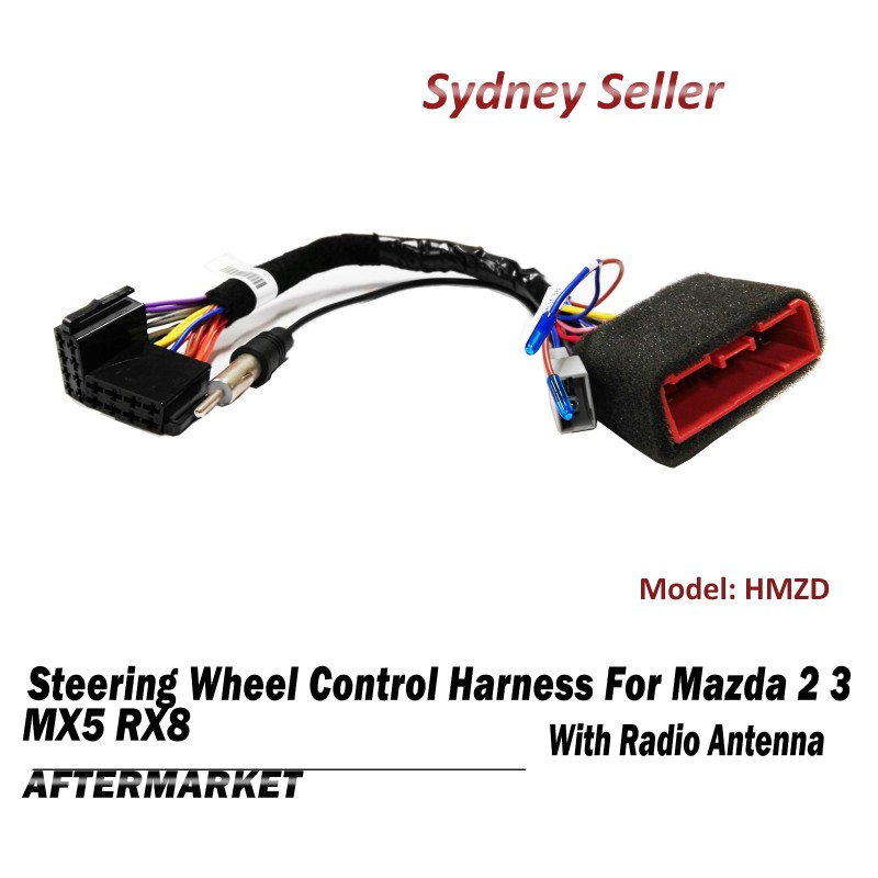 Steering Wheel Control SWC Harness ISO Plug Lead Radio Antenna For Mazda 2 3 MX5 RX8 HMZD