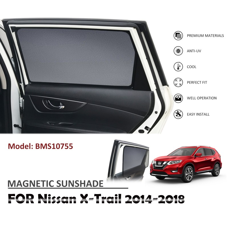 MAGNETIC CAR WINDOW SUN SHADE SUNSHADES BLIND MESH FOR NISSAN X-TRAIL XTRAIL 2014-2018 BMS10755