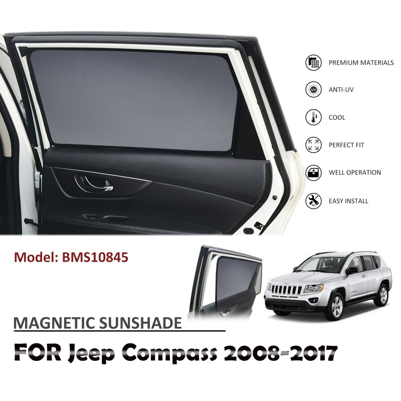 MAGNETIC CAR WINDOW SUN SHADE SUNSHADES BLIND MESH REAR DOOR FOR JEEP COMPASS 2008-2017 BMS10845