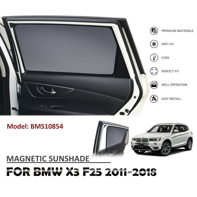 MAGNETIC CAR WINDOW SUN SHADE BLIND SUNSHADES MESH REAR DOOR FOR  BMW X3 F25 2011-2018 BMS10854