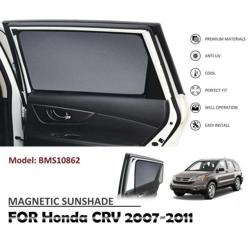 MAGNETIC CAR WINDOW SUN SHADE SUNSHADES BLIND MESH REAR DOOR FOR HONDA CRV CR-V 2007-2011 BMS10862