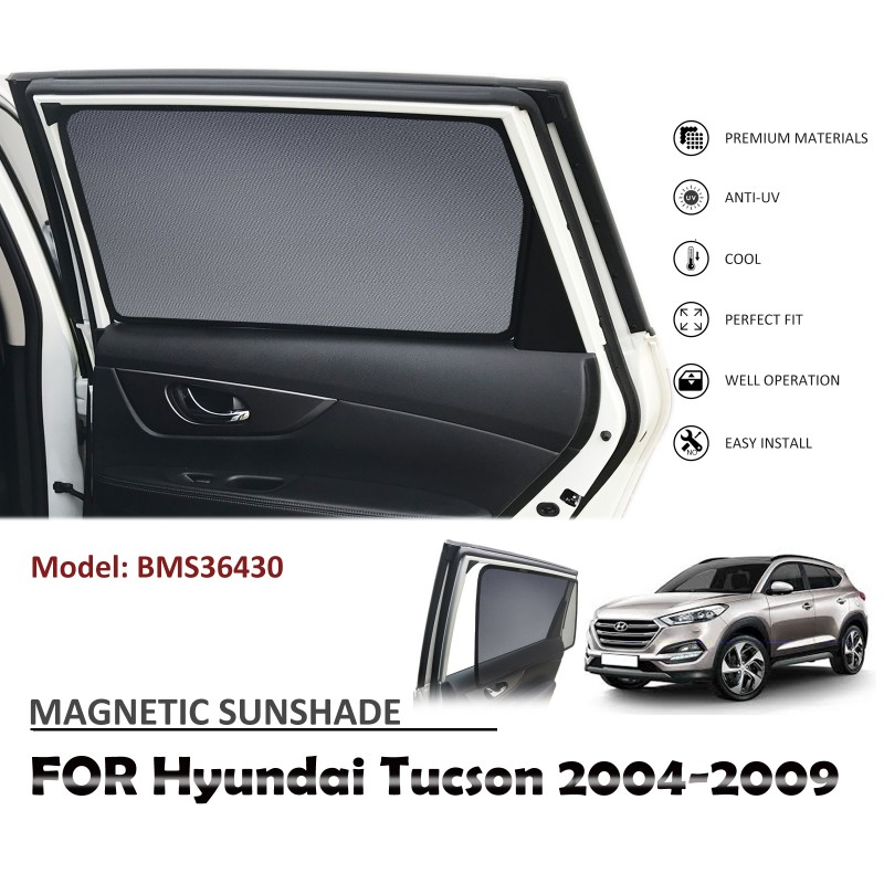 MAGNETIC CAR WINDOW SUN SHADE BLIND MESH FOR HYUNDAI TUCSON 2004-2009 BMS36430