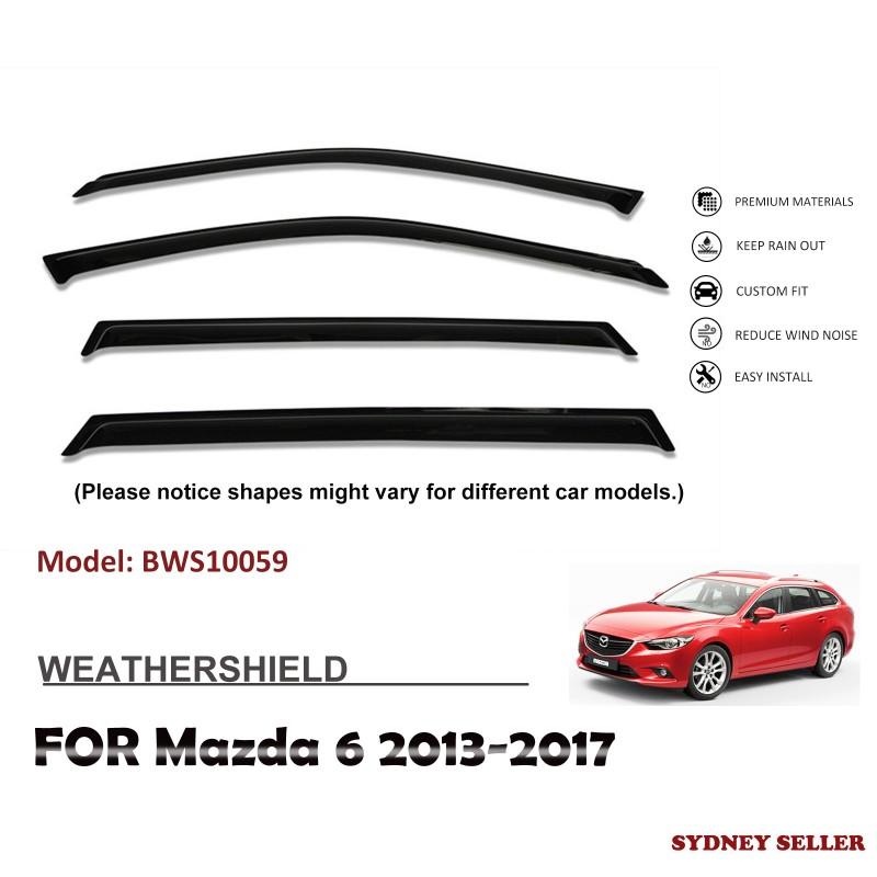 WEATHERSHIELD WINDOW VISOR WEATHER SHIELD FOR MAZDA 6 GJ 1 & 2 SEDAN 2013-2017 BWS10059