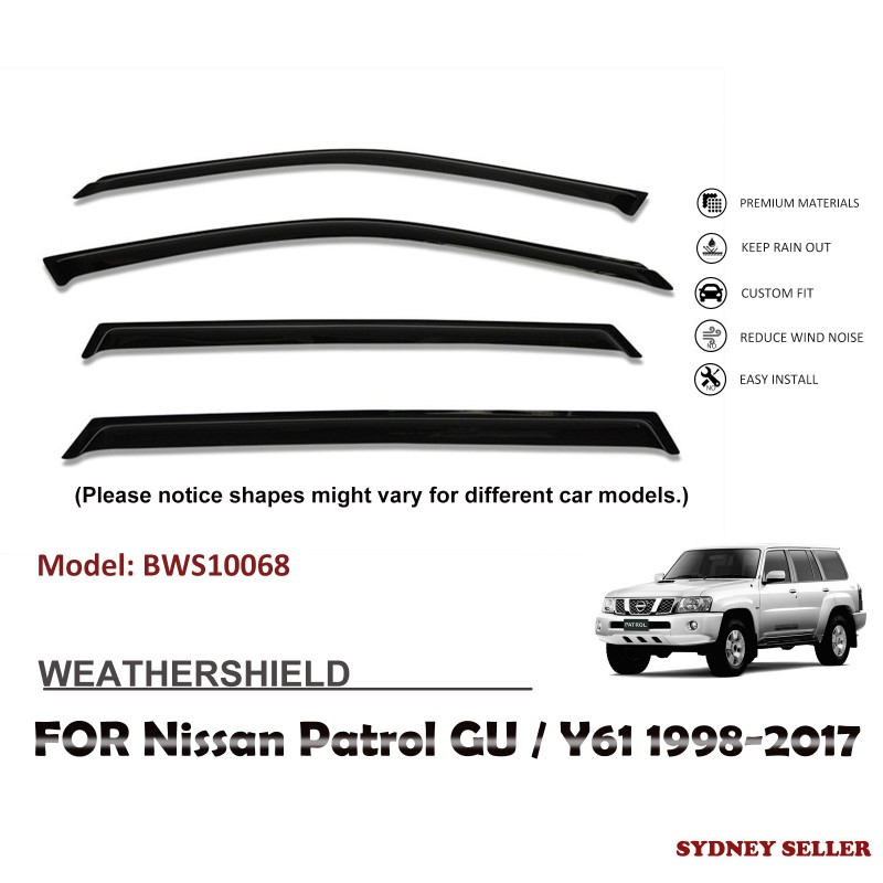 WEATHERSHIELD WINDOW VISOR SHIELD FOR NISSAN PATROL GU/Y61 1998-2017 BWS10068