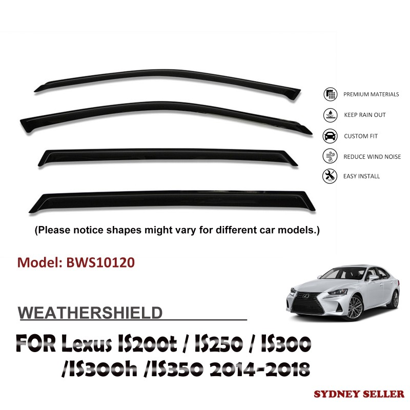 WEATHERSHIELD WINDOW VISOR FOR LEXUS IS200t IS250 IS300 IS300h IS350 2014-2018 BWS10120