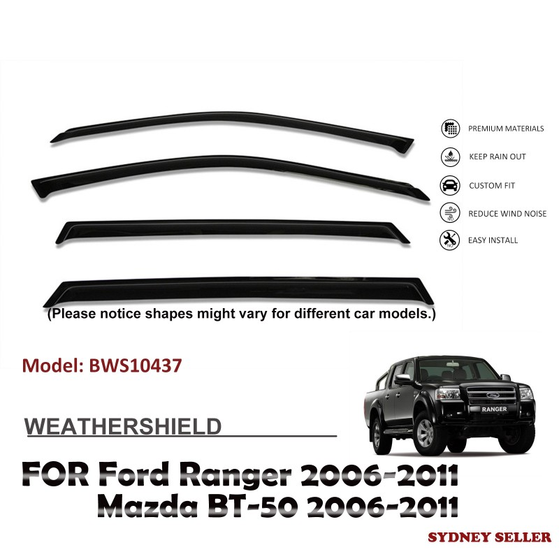 WEATHERSHIELD WINDOW VISOR WEATHER SHIELD FOR FORD RANGER PJ PK 2006-2011 BWS10437