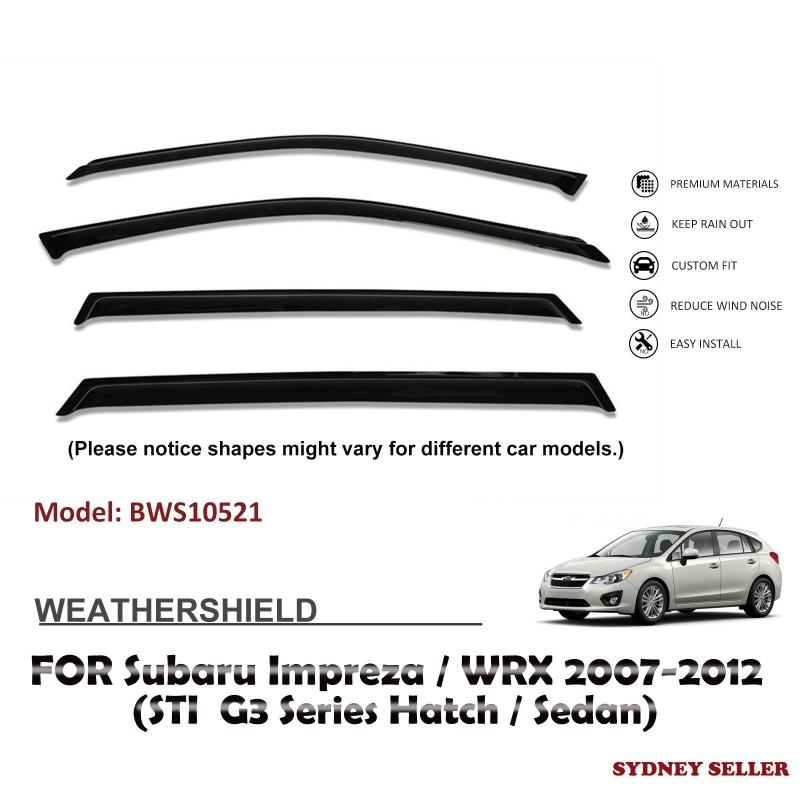 WEATHERSHIELD WINDOW VISOR SHIELDS FOR SUBARU IMPREZA WRX STI G3 2007-2012 BWS10521