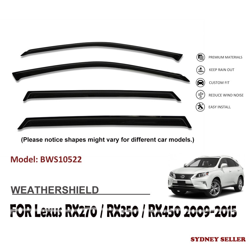 WEATHERSHIELD WINDOW VISOR SHIELD FOR LEXUS RX270 RX350 RX450 GG15R 2009-2015 BWS10522