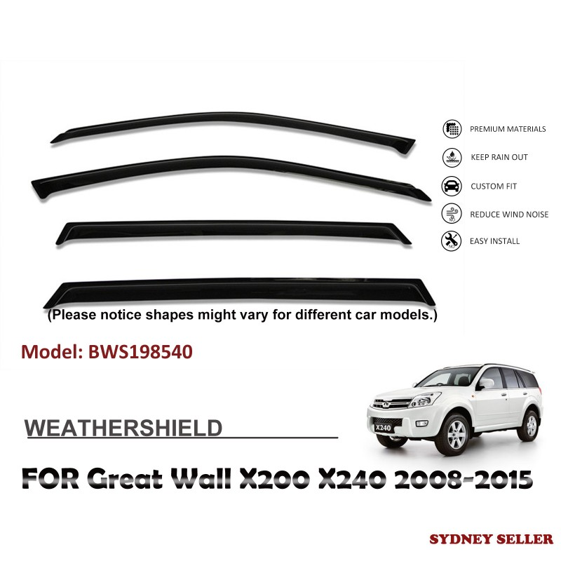 WEATHERSHIELD WINDOW VISOR WEATHER SHIELD FOR GREAT WALL  X200 X240 2008-2015 BWS198540