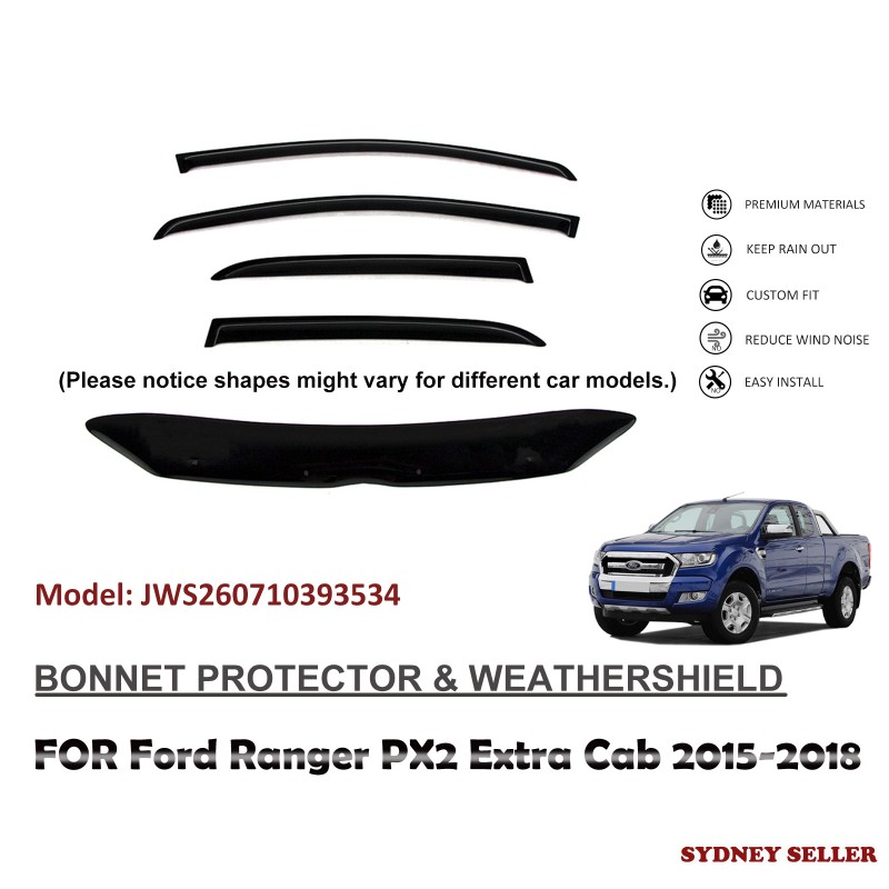BONNET PROTECTOR & WEATHERSHIELD WINDOW VISOR FOR FORD RANGER PX2 EXTRA CAB 2015-2018