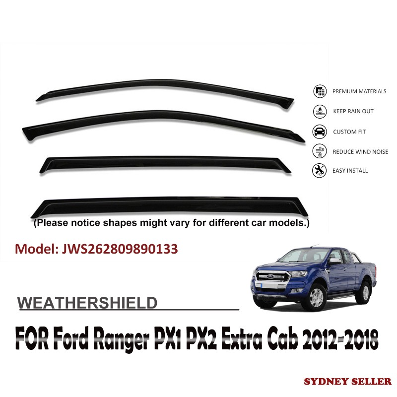 WEATHERSHIELD WINDOW VISOR WEATHER SHIELD FOR FORD RANGER PX1 PX2 EXTRA CAB 2012-2018