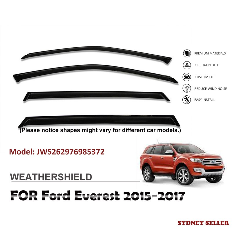 WEATHERSHIELD WINDOW VISOR WEATHER SHIELD FOR FORD EVEREST 2015-2017 JWS262976985372