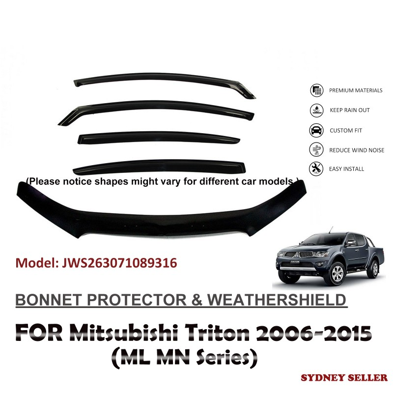 BONNET PROTECTOR & WEATHERSHIELD VISOR FOR MITSUBISHI TRITON ML MN 2006-2015 JWS263071089316