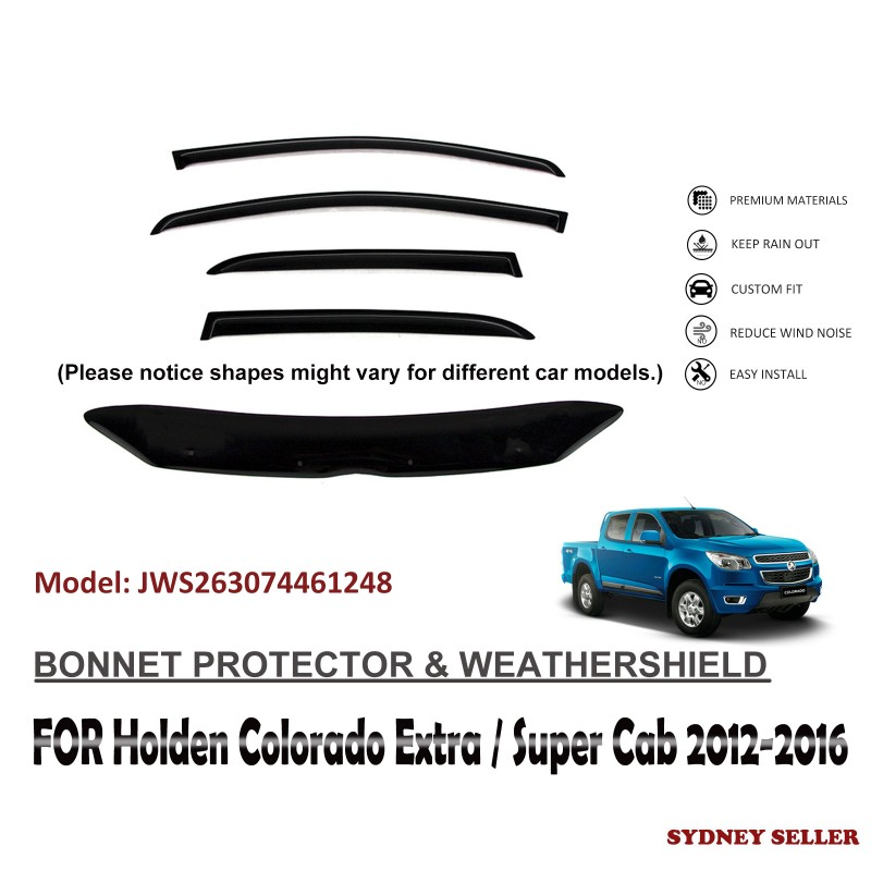 BONNET PROTECTOR & WEATHERSHIELD  FOR HOLDEN COLORADO EXTRA / SUPER CAB 2012-2016 JWS263074461248