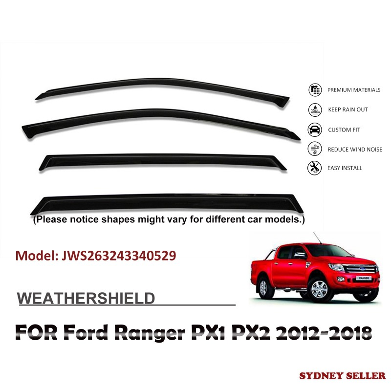 WEATHERSHIELD WINDOW VISOR WEATHER SHIELD FOR FORD RANGER PX1 PX2 2012-2018