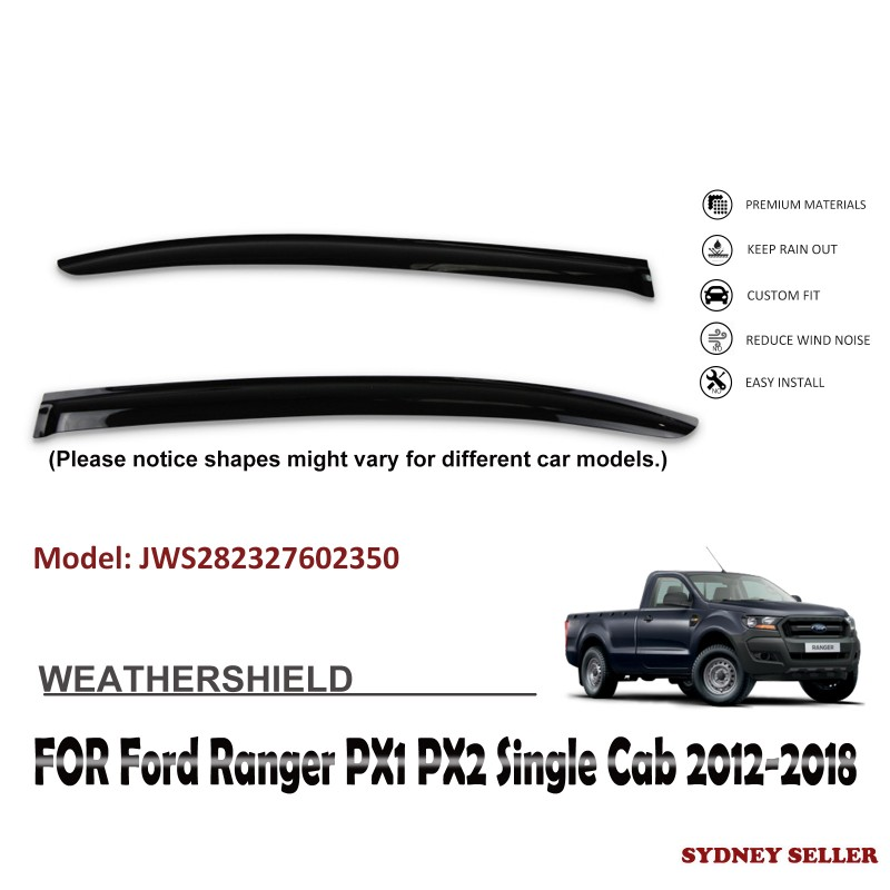 WEATHERSHIELD WINDOW VISOR WEATHER SHIELD FOR FORD RANGER PX1 PX2 SINGLE CAB 2012-2018
