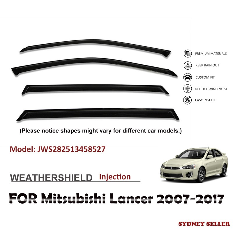 WEATHERSHIELD WINDOW VISOR WEATHER SHIELD FOR Mitsubishi Lancer 2007-2017 JWS282513458527