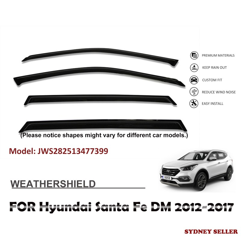 WEATHERSHIELD WINDOW VISOR WEATHER SHIELD FOR HYUNDAI SANTA FE DM 2012-2017