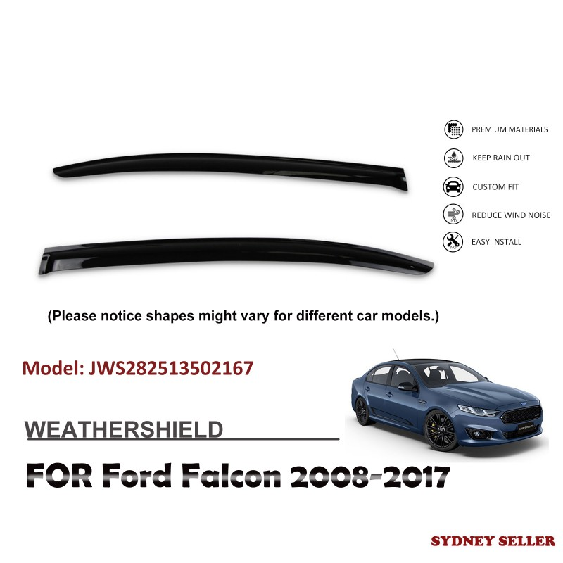 WEATHERSHIELD WINDOW VISOR WEATHER SHIELD FOR FORD FALCON FG 2008-2017 JWS282513502167