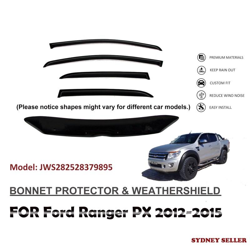 BONNET PROTECTOR & WEATHERSHIELD WINDOW VISOR FOR FORD RANGER PX 2012-2015 JWS282528379895