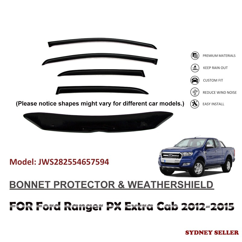 BONNET PROTECTOR & WEATHERSHIELD  FOR FORD RANGER PX EXTRA CAB 2012-2015 JWS282554657594