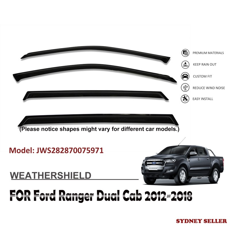 WEATHERSHIELD WINDOW VISOR WEATHER SHIELD FOR FORD RANGER DUAL CAB 2012-2018