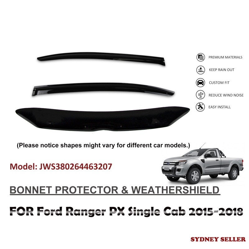 BONNET PROTECTOR & WEATHERSHIELD FOR FORD RANGER PX SINGLE CAB 2015-2018 JWS380264463207