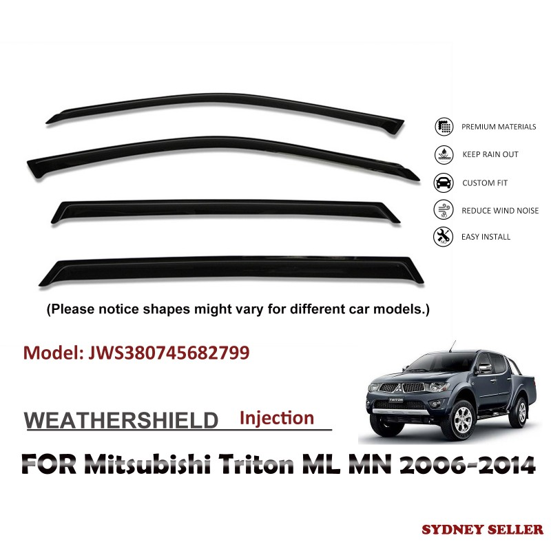 WEATHERSHIELD WINDOW VISOR SHIELDS FOR MITSUBISHI TRITON  ML MN 2006-2014 JWS380745682799