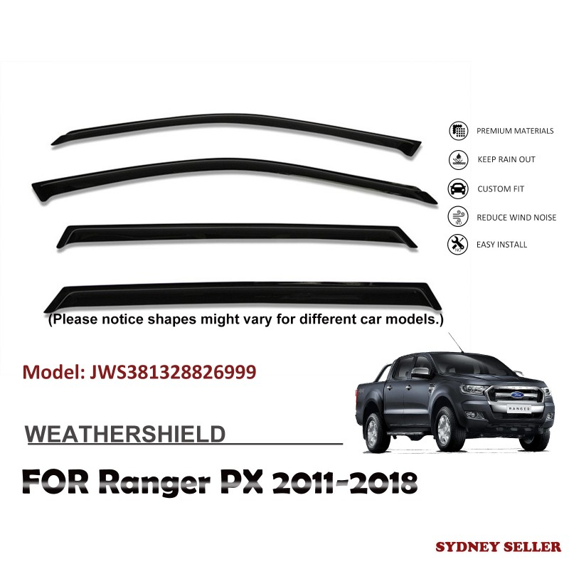 WEATHERSHIELD WINDOW VISOR WEATHER SHIELD FOR FORD RANGER PX DUAL CAP PX 2012-2018