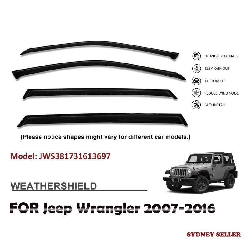 WEATHERSHIELD WINDOW VISOR WEATHER SHIELD SHIELDS FOR JEEP WRANGLER 2007-2016
