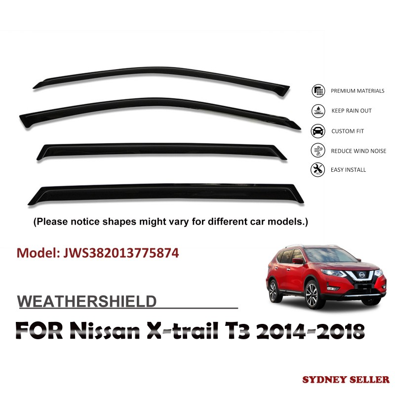 WEATHERSHIELD WINDOW VISOR SHIELD FOR NISSAN X-TRAIL XTRAIL T32 2014-2018 JWS382013775874