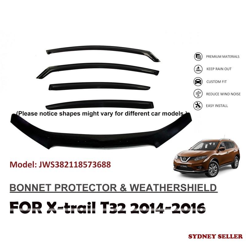 BONNET PROTECTOR & WEATHERSHIELD FOR NISSAN XTRAIL X-TRAIL T32 2014-2016 JWS382118573688