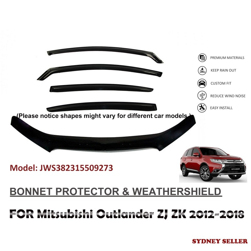 BONNET PROTECTOR & WEATHERSHIELD FOR MITSUBISHI OUTLANDER ZJ ZK 2012-2018 JWS382315509273