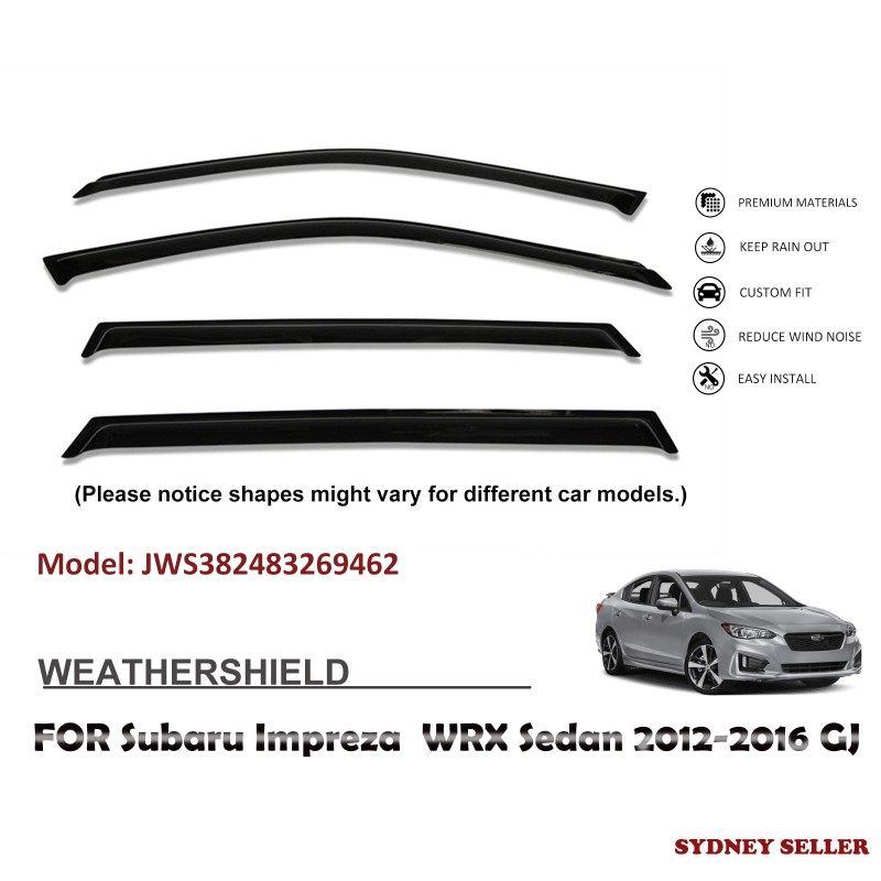 WEATHERSHIELD WINDOW VISOR FOR SUBARU IMPREZA WRX SEDAN 2012-2016 GJ JWS382483269462